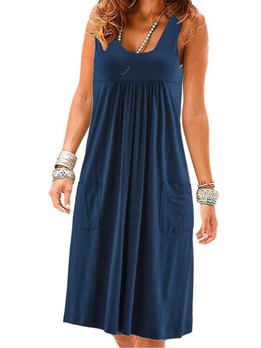 Fashion striped dress large size summer dress  loose simple sleeveless dress women's clothing 1