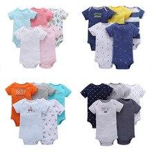 Body à manches courtes coloré pour bébés filles, 5 pièces en coton, vêtements pour bébés filles et garçons, pyjama, nouveau style été 2020