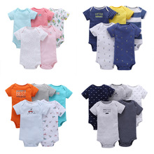 NEW style Summer 2020 Baby girls Colorful Short Sleeve bodysuits Cotton 5 pcs baby clothes for girls & boys Baby Costume Pajamas