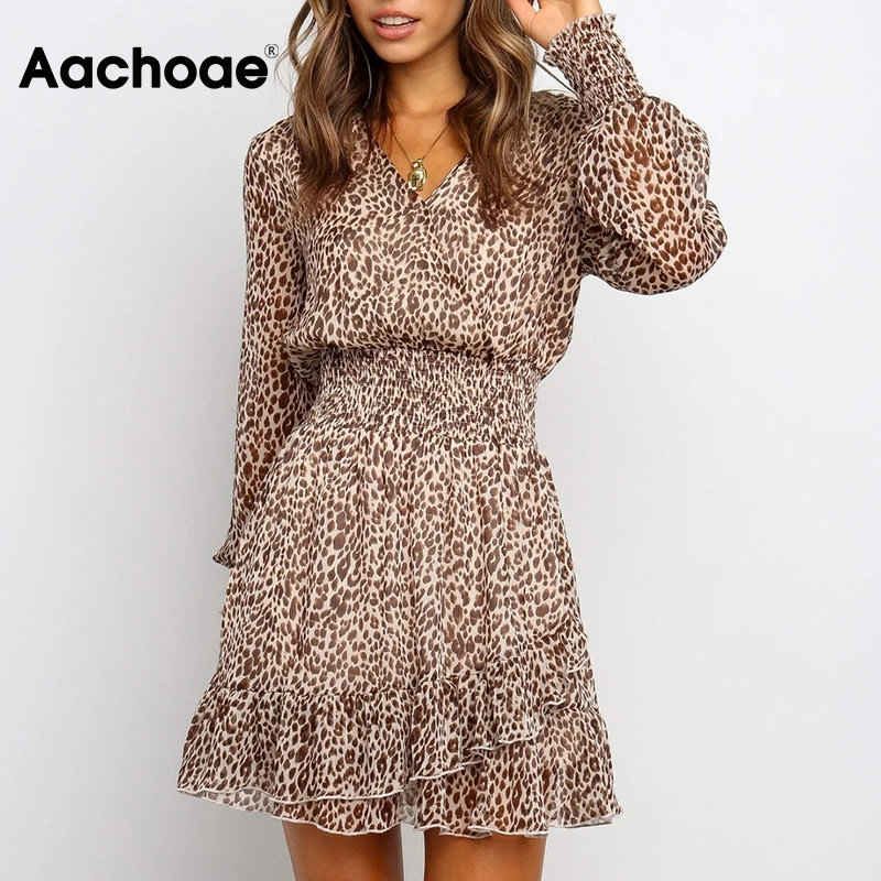Aachoae Lady V Neck Leopard Dresses Transparent Long Sleeve Mini Dress Women Ruffles Elastic Waist A Line Chiffon Dress Vestido