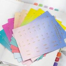 Womthemon – autocollant magique d'indice de couleur, signet mensuel en feuille d'or pour agenda agenda, papeterie décorative pour carnet de notes et Journal de bord