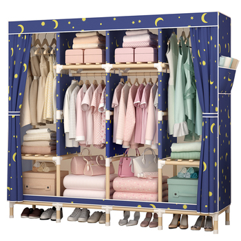 Wardrobe Simple Cloth Wardrobe Solid Wood Fabric Non-steel Pipe Assembly Bold Reinforcement Storage Hanging Wardrobe Closet