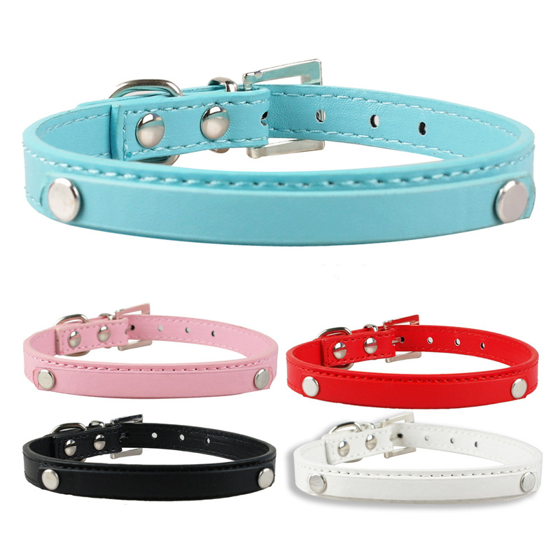 Hot Sales Pu Neck Ring DIY Pet Name Necklace Tabby Multi-color Leather Belt Pet Dog Circle Small Cat And Dog Neck Ring Wholesale