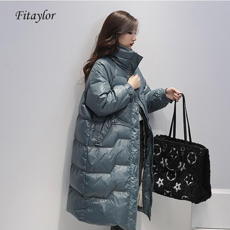 Fitaylor 2020 длинная куртка Женская 90% белый утиный пух парка новая зимняя синяя пуховая куртка женская желтая Толстая теплая верхняя одежда
