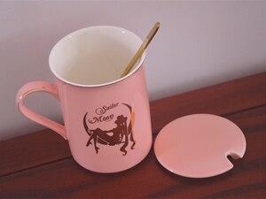 Image 4 - Anime Sailor Moon Pink Bone China Coffee Mug Tsukino Usagi Ceramic Mugs Cup Set Cup with Cover and Spoon Girls Christmas Gift