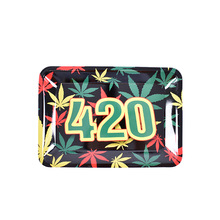 18cm*14cm Rolling Tray Tobacco Storage Plate  Discs for Smoke Green Herb Grinder Water Pipe Hookah Shisha Glass Mini