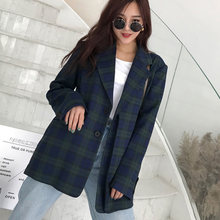 Streetwear Women Plaid Blazer Autumn Single-breasted Long Sleeve Grid Female Jacket Elegant Loose Women Suits Outerwear 2019(China)