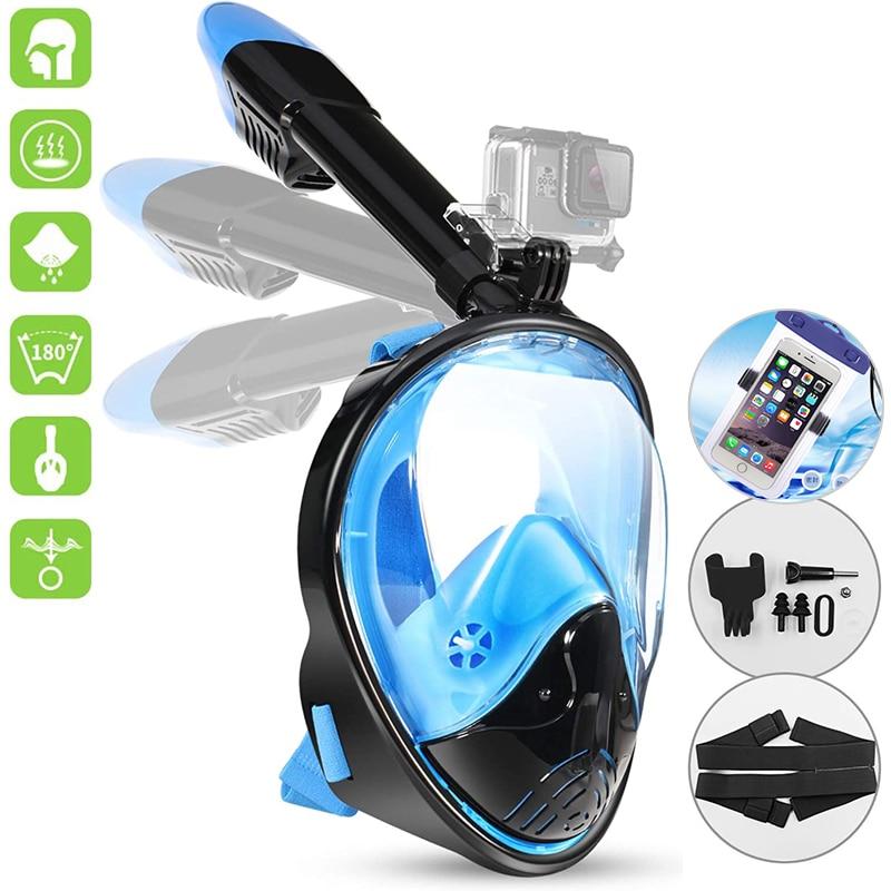 Маска для подводного плавания для взрослых, незапотевающая маска для подводного плавания с широким обзором, водонепроницаемая, с крепление...