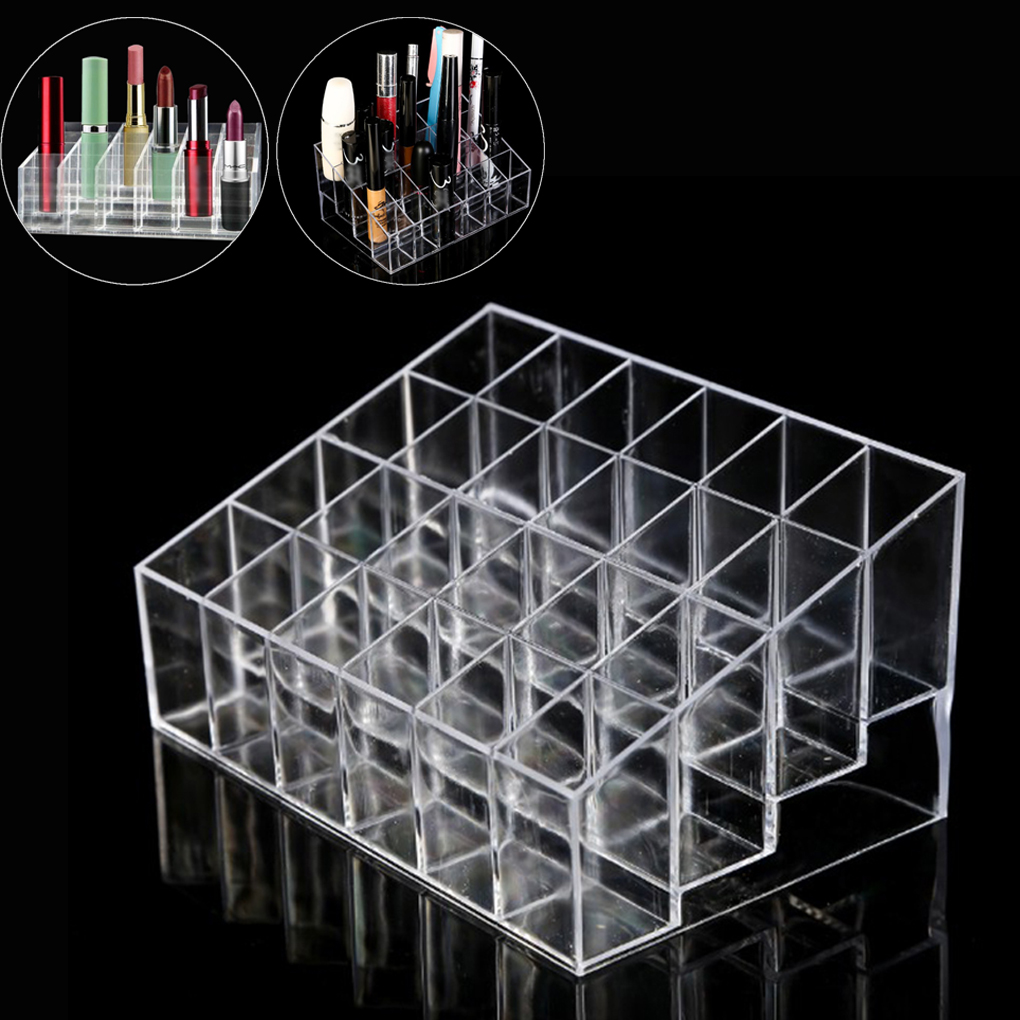 24 Grid Acrylic Makeup Organizer Storage Box Cosmetic Box Lipstick Jewelry Box Case Holder Display Stand make up organizer