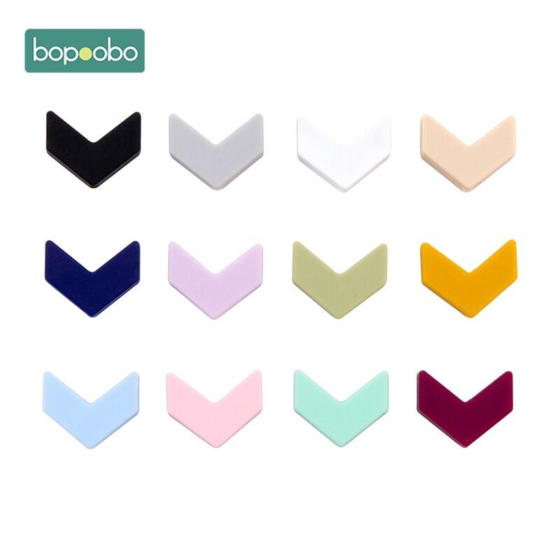Bopoobo 20PC Silicone Cartoon Arrow Baby Teether Silicone Bead  BPA Free  Baby Teething Beads Silicone Baby Food Grade Teether