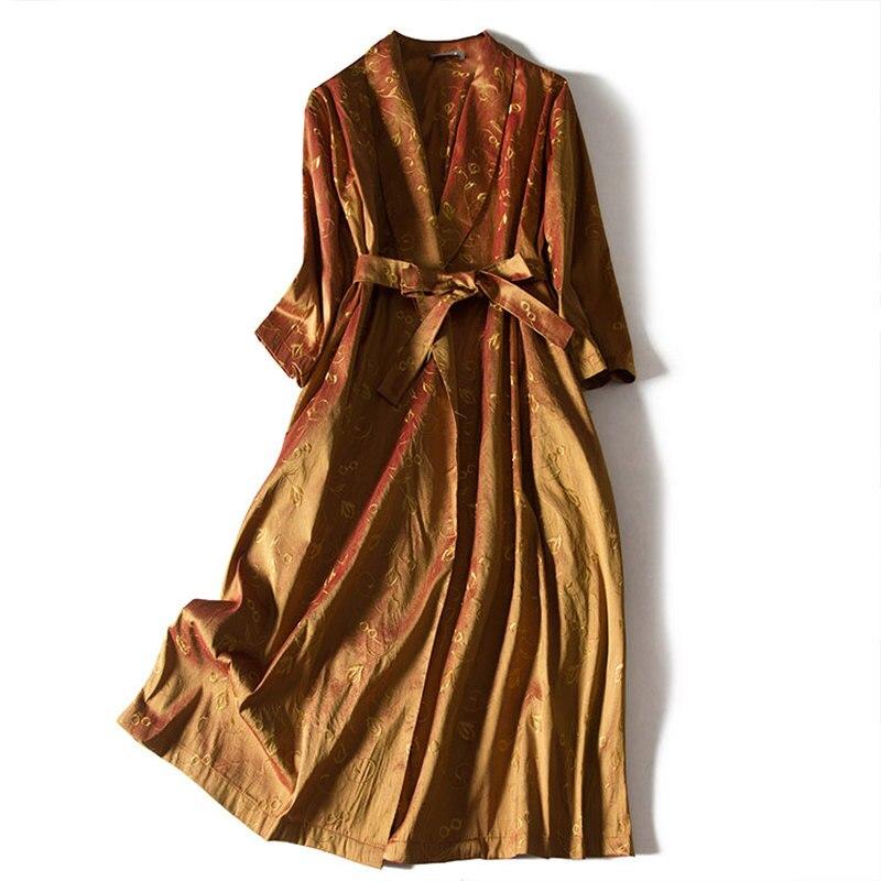 Broderie bohème vraie soie robe 2020 mi-mollet a-ligne solide élégant Vestidos concepteur femmes robes de haute qualité