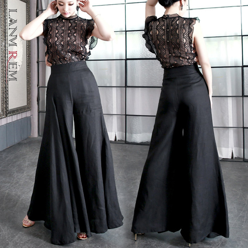 LANMREM Can Ship 2020 Springs Summer Fashion New Black Wide Leg Pants High Waist Trousers Self-cultivation Big Flare Pants YH895