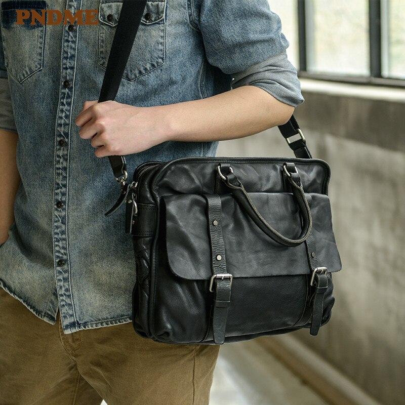 PNDME High Quality Genuine Leather Men's Briefcase Luxury Designer Real Cowhide Hand Laptop Bag Black Shoulder Messenger Bags