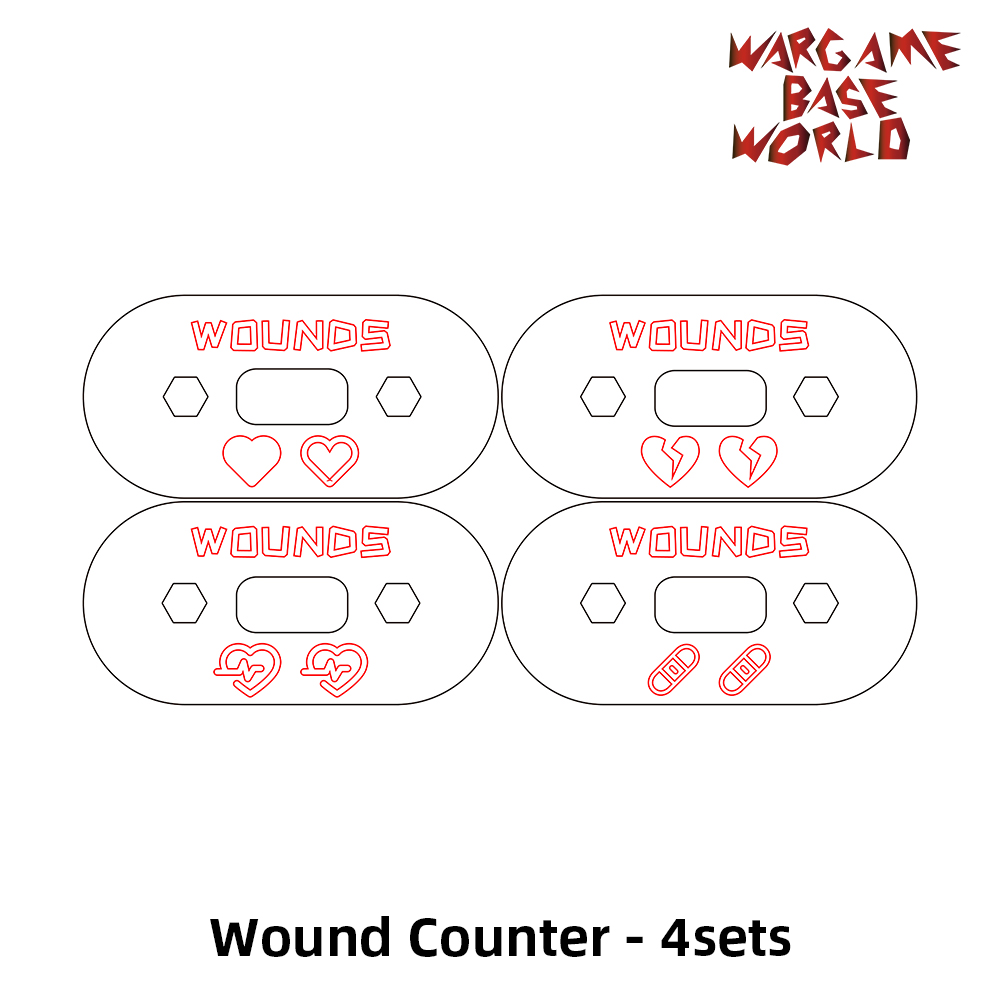 Wargame Base World - Wound Counter/Tracker/Dial/Marker 00-99 Wound Counter - Four Sets