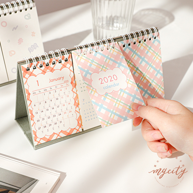 Desk Calendar 2020 Simple Cute Calendar Schedule Agenda Decoration Daily Monthly Planner Stationery School Office Supplies
