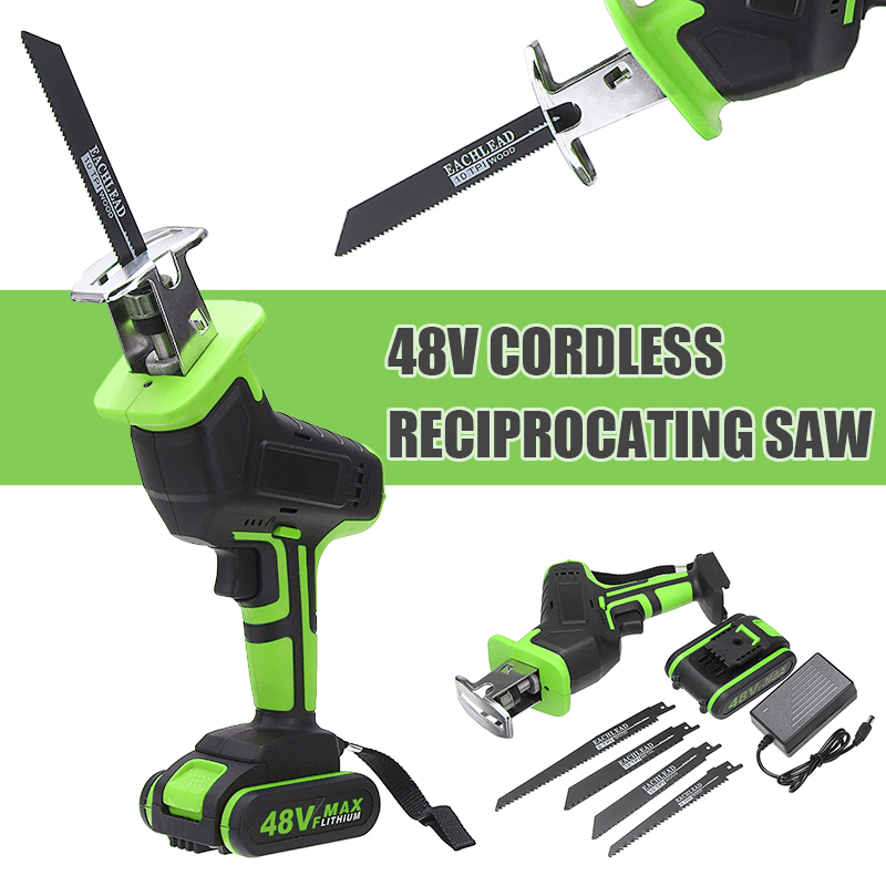 48V Electric Wood Metal Reciprocating Saws Cordless Logging Chainsaw With Saw Blades Battery Wireless Electric Saw Cutting Tool