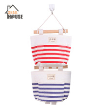 Snailhouse Hanging Storage Bag stripe Pattern Organizer Wall Sundry Fabr Cotton Pockets for Sundries
