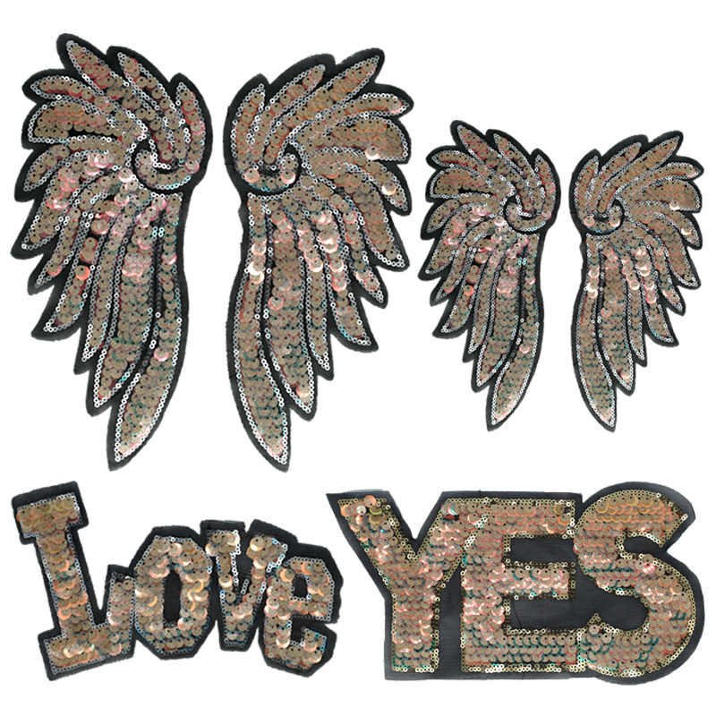 Gold Angel Wings Sequin Patches Sew on Letters LOVE YES Clothes Embroidered Big Beaded Applique Diy Patch for Clothing