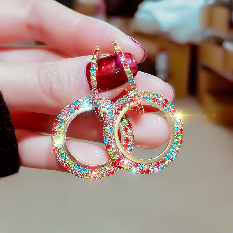 2019 new design hot fashion jewelry color full crystal earrings luxury high quality wedding party earrings for women gift