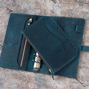 Image 5 - Genuine Leather Zipper Bag For Personal Rings Notebook 6 Hole Card Pocker Storage 17 x 11cm For Planner Organizer Sketchbook