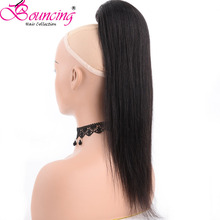 Bouncing Hair straight clip in ponytail hair extensions natural color drawstring adjustable remy for black woman