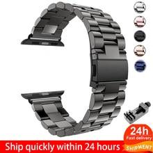 Pulseira de aço inoxidável para Apple Watch 6 5 4 3 2 1, bracelete 38mm 42mm versão esportiva para iWatch series 5 4 3/2/1 40mm 44mm