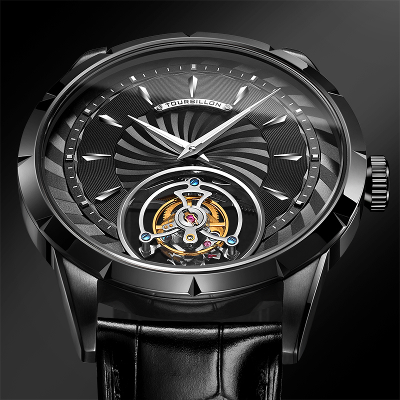 GUANQIN Original Tourbillon watch men top brand luxury clock men skeleton Sapphire Mechanical relogio masculino 1