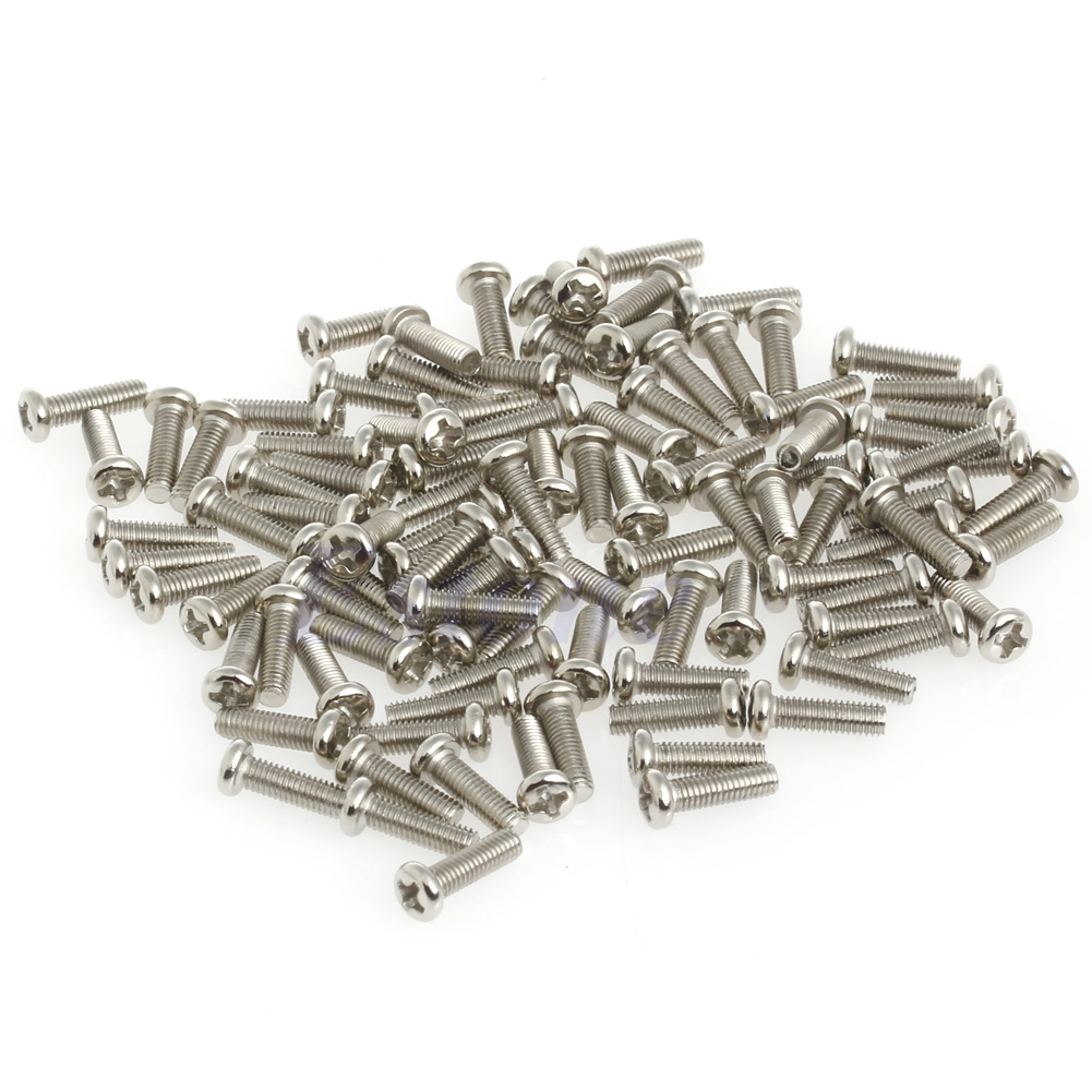 100pcs <font><b>M3</b></font> <font><b>x</b></font> <font><b>10mm</b></font> Metric Phillips Round Pan Head Machine <font><b>Screws</b></font> Stainless Steel E65B image