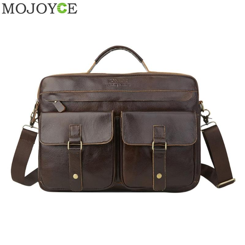 Men Genuine Leather Briefcase Travel Messenger Shoulder Bag Business Casual Zipper Laptop Handbags Office Solid Color Totes