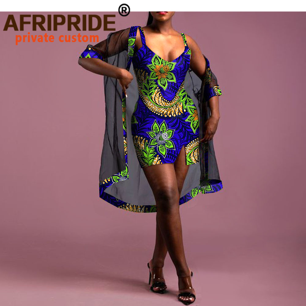 African Dresses For Women Mini Dress And Veils 2 Piece Set Sexy Outfits Dashiki Print Clothes V-Neck Sleeveless Outwear A2026002