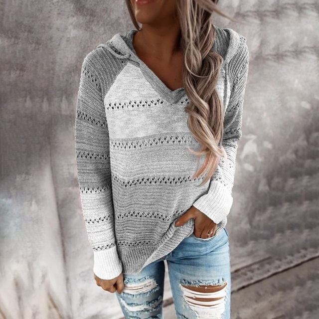 Autumn Women Patchwork Hooded Sweater Long Sleeve V-neck Knitted Sweater Casual Striped Pullover Jumpers 2020 New Female Hoodies 5