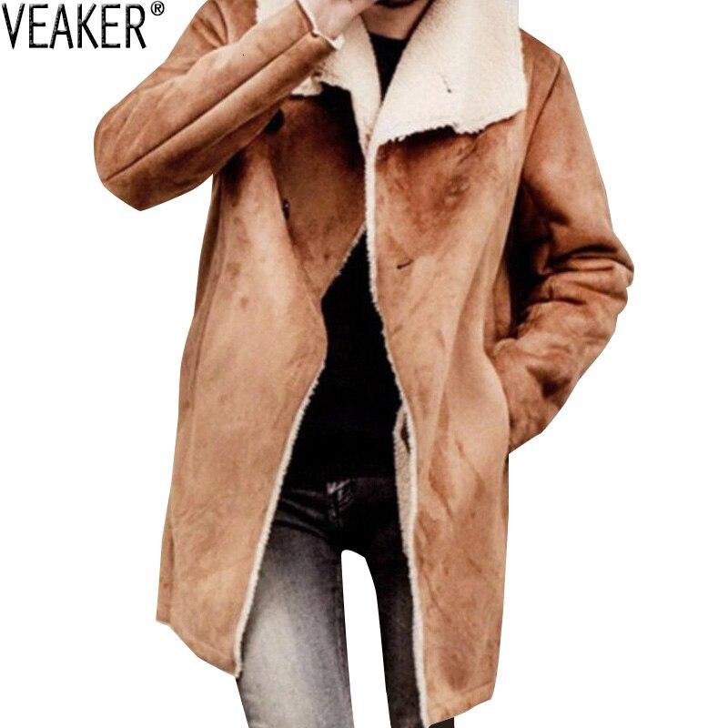 2019 New Men's Warm Suede Coat Male Winter Solid Color Long Trench jacket Men Wool Fleece Overcoat Outerwear S-3XL