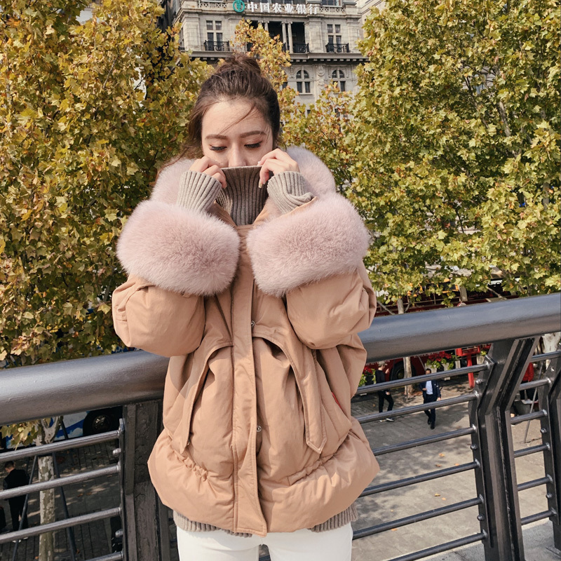 Womens Down Jackets White Duck Down Coats Female Short Down Parka Real Large Fox Fur Collar Thick Warm Clothes LWL1350