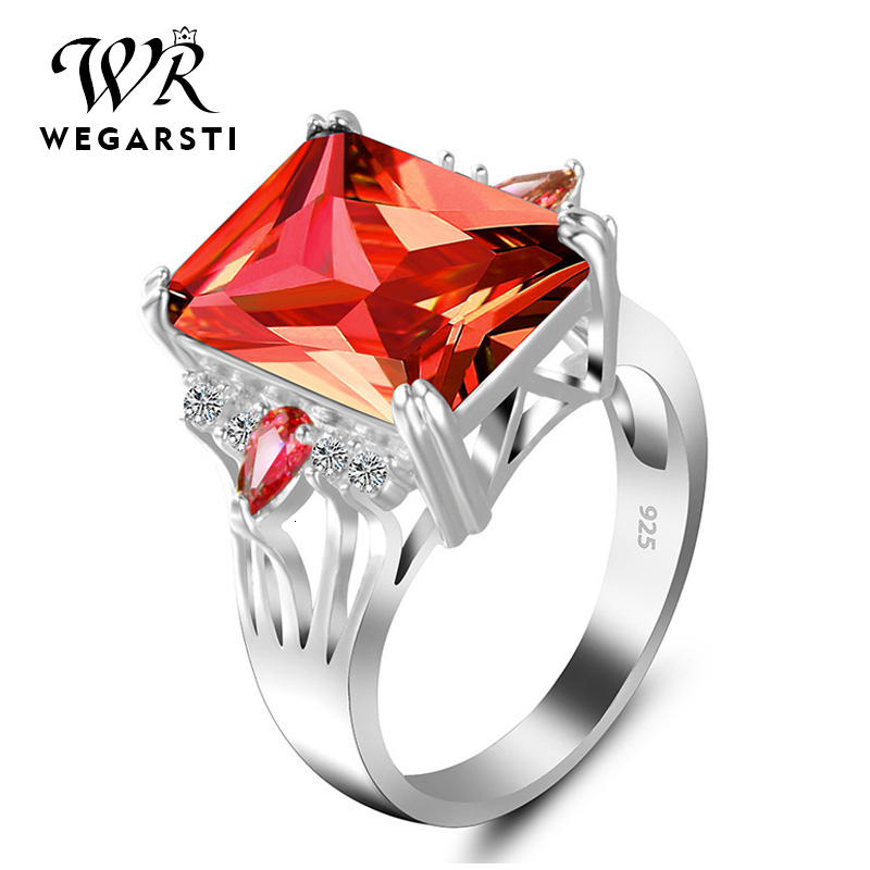 WEGARASTI Silver 925 Jewelry Ring Ruby Silver 925 Women's Trendy Natural Gemstone Rings Engagement Ring Fine Jewelry
