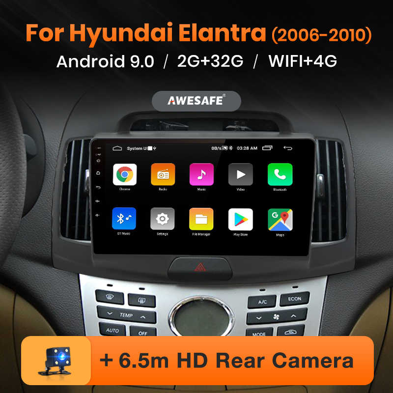 AWESAFE PX9 Hyundai Elantra HD 2006-2010 araba radyo multimedya video oynatıcı GPS No 2 din Android 9.0 2GB + 32GB