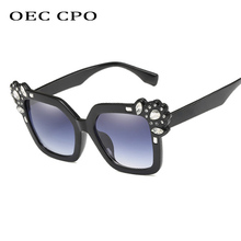 OEC CPO Luxury Rhinestone Square Sunglasses Women Design Fashion Oversized Sun Glasses Female Gradient Vintage Shades UV400 O132