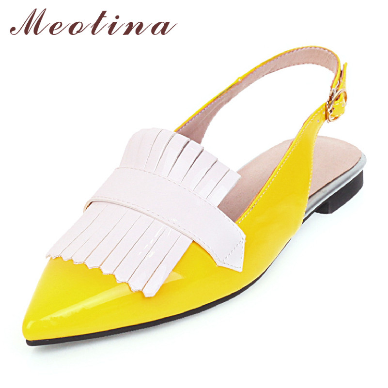 Meotina Spring Flats Women Slingbacks Shoes Fring Buckle Flat Shoes Mixed Colors Pointed Toe Shoes Ladies Red Yellow Big Size 46