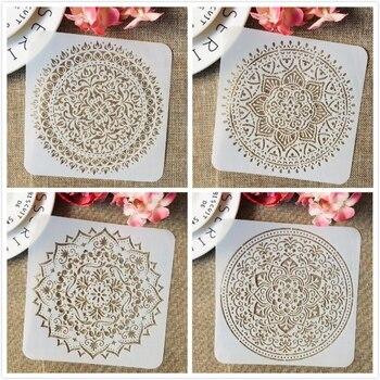 4Pcs/Set 15cm Mandala Wheel Round Square DIY Layering Stencils Painting Scrapbook Coloring Embossing Album Decorative Template