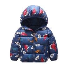 Children Jacket Winter Warm 1- 6 Y Boys Dinosau Outerwear Girls Cartoon Spring Coat Baby Kids Hooded Clothing Child Vest