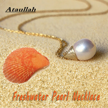 Ataullah Fashion Freshwater Pearl Necklace Silver 925 Jewelry Pendant Necklaces Plated with Gold Women Chain Party NW091