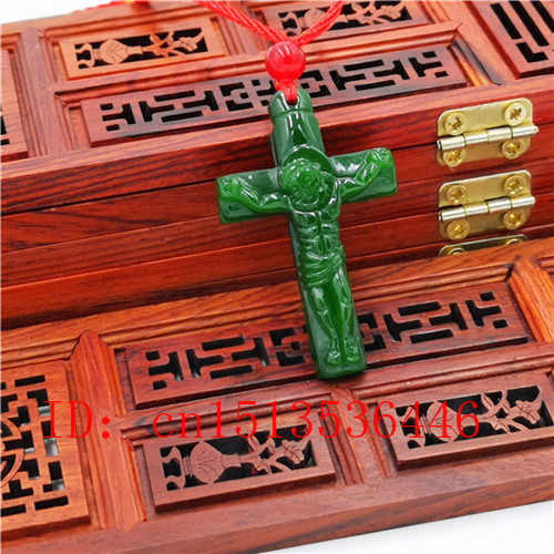 Cruz jesus esculpida jade pingente natural chinês verde colar charme jadeita jóias moda sorte amuleto presentes para mulher n03