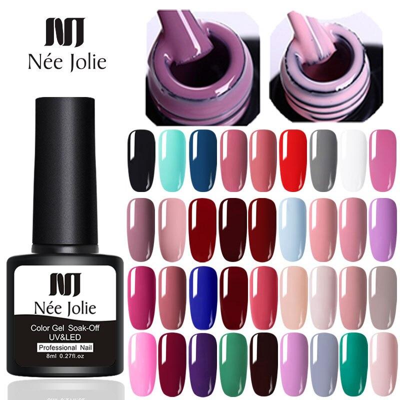NEE JOLIE 8ml Matting Top Coat Soak Off Color UV Gel Nail Polish Black Red Semi Permanent UV Gel Varnish DIY Nail Art Paint Gel