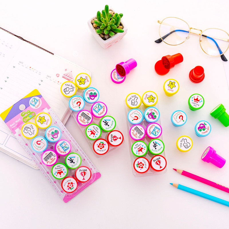 Toy seal English Comment seal Teaching aids Cartoon seal toys Awards and commentary 10PCS/Set