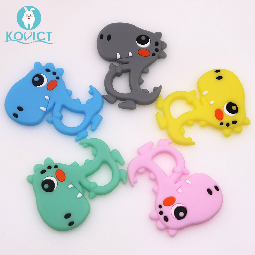 Kovict 5/10pcs dinosaur Silicone Baby Teether Cute Baby Teething Toys Chewable Animal Shape Baby Products BPA Free