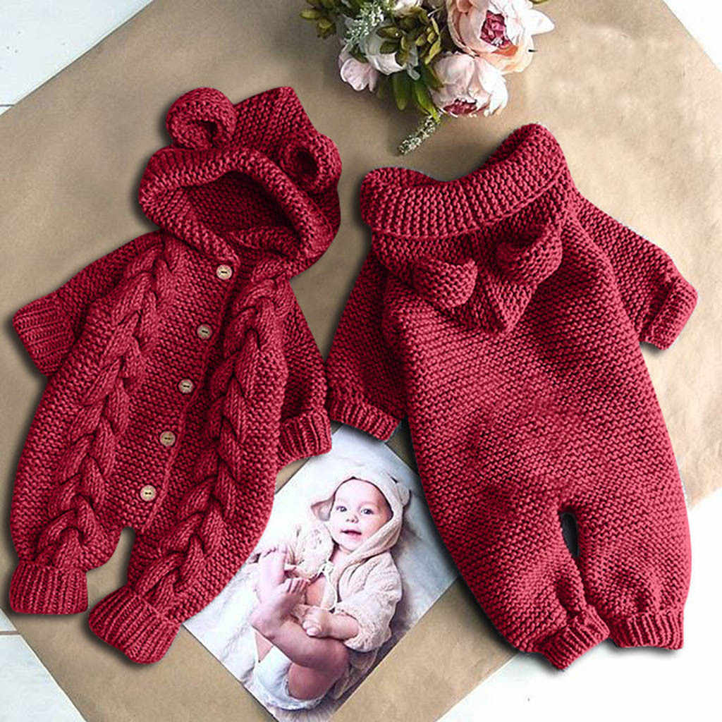 0-3 Months Baby Girl Boy Clothes,Newborn Infant Baby Girl Boy Winter Warm Coat Knit Outwear Hooded Jumpsuit