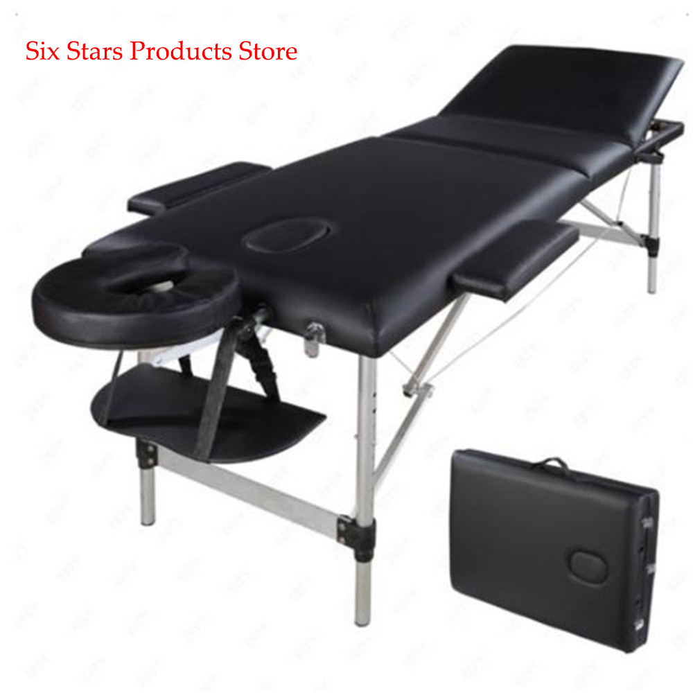 186cm*60cm*63cm Beauty Bed Spa Tatto 3 Sections Folding Aluminum Tube SPA Bodybuilding Massage Table Black Beauty Table Salon