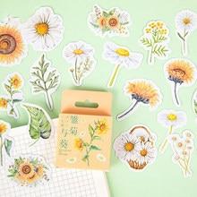 46 sztuk naklejki w opakowaniu Daisy Sunlower dekoracyjna naklejka Scrapbooking papiernicze przybory szkolne dla uczniów dziewczyna prezent