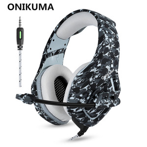 Image 2 - ONIKUMA K1 Camouflage PS4 Headset Bass Gaming Headphones Game Earphones Casque with Mic for PC Mobile Phone New Xbox One Tablet