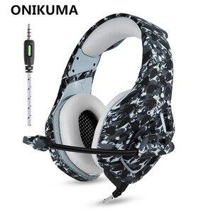 Image 2 - ONIKUMA auriculares K1 de camuflaje para PS4 cascos de graves para videojuegos, con micrófono, para PC, teléfono móvil, Xbox, One y Tablet