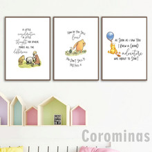Classic Winnie The Pooh Quotes Canvas Painting Nordic Posters And Prints Nursery Decor Cartoon Wall Art Pictures(China)